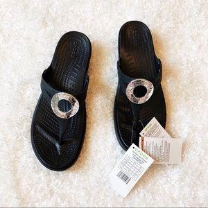 New Crocs Black Wedge Sandals Size 11